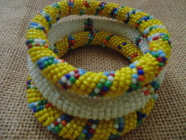 Beaded Bangle-White and Multi Colour - Lillon Boutique