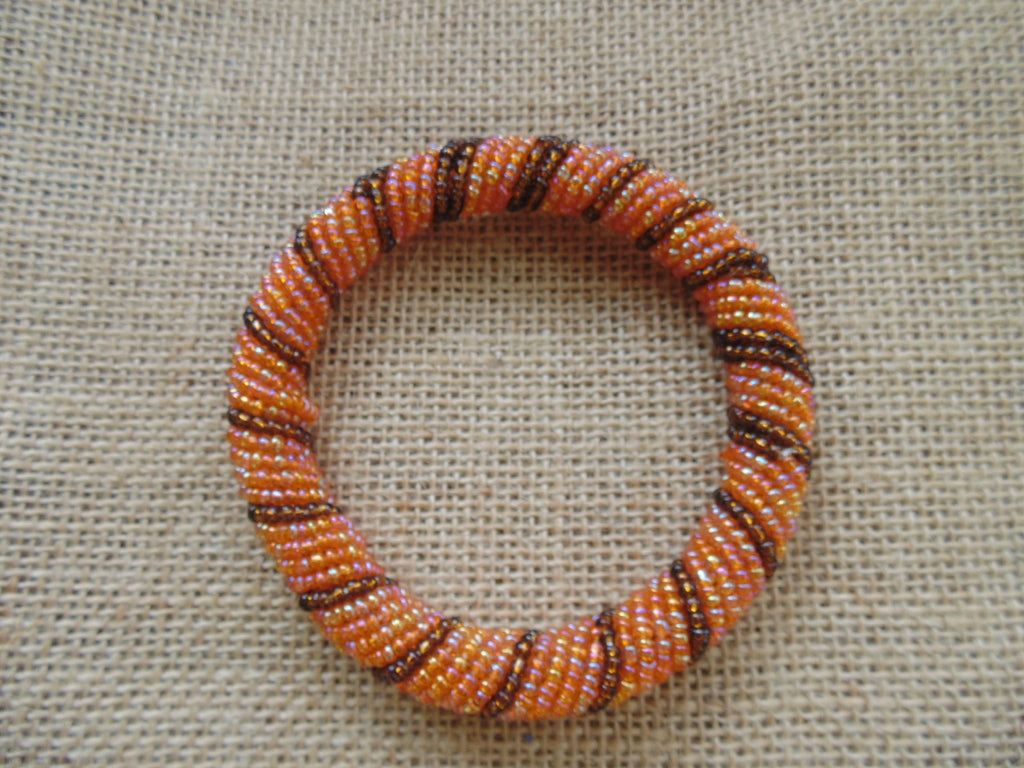 Beaded Bangle-Orange and Metallic Variation