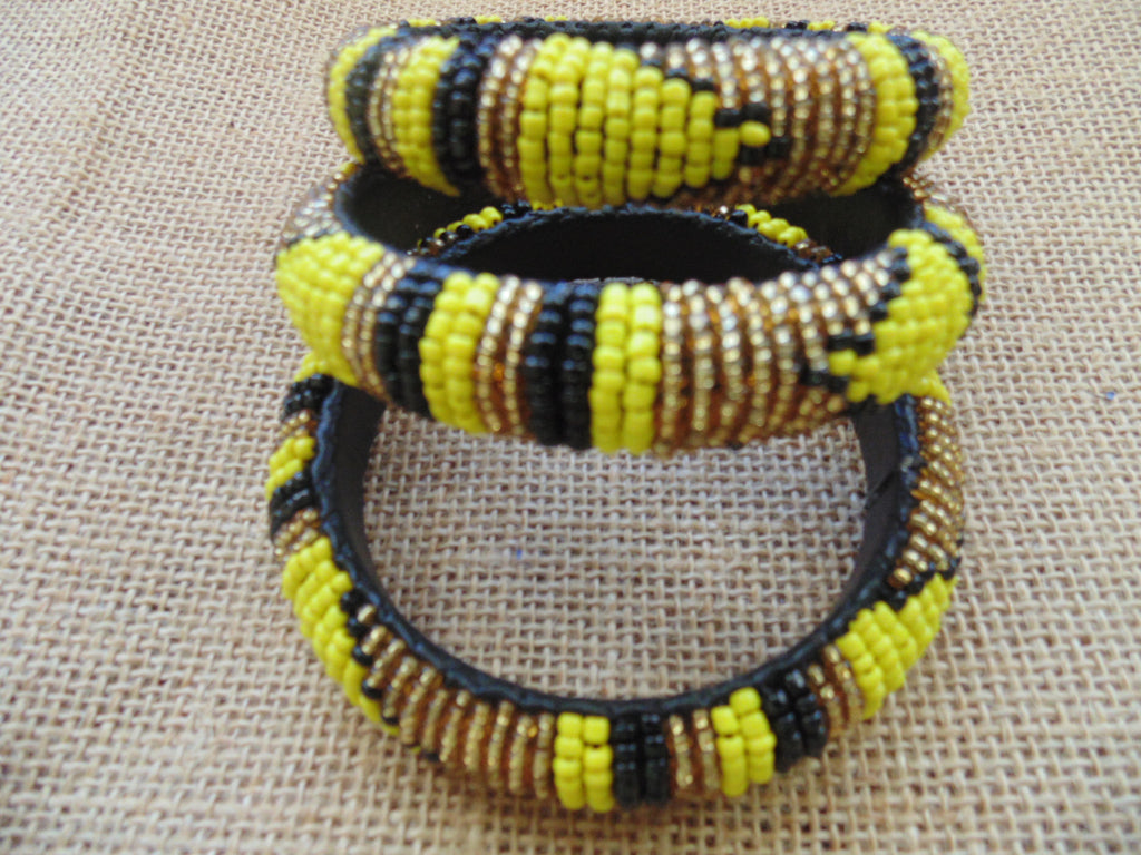 Beaded Bangle-Yellow Gold Black Variation