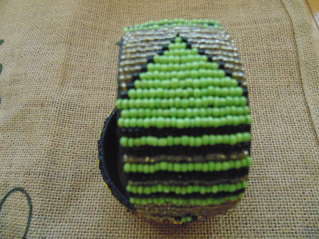 Beaded Bangle-Jumbo Green Gold Black Variation