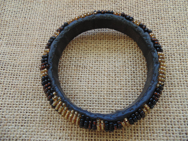 Beaded Bangle-Brown Gold Black Variation - Lillon Boutique
