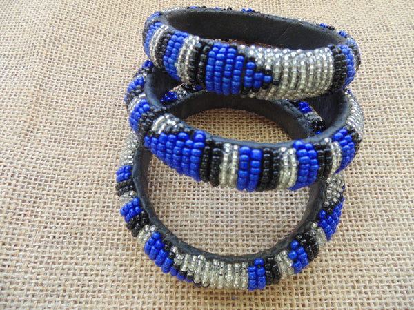Beaded Bangle-Blue Silver Black Variation - Lillon Boutique