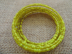 Beaded Coil Bracelet-Yellow - Lillon Boutique