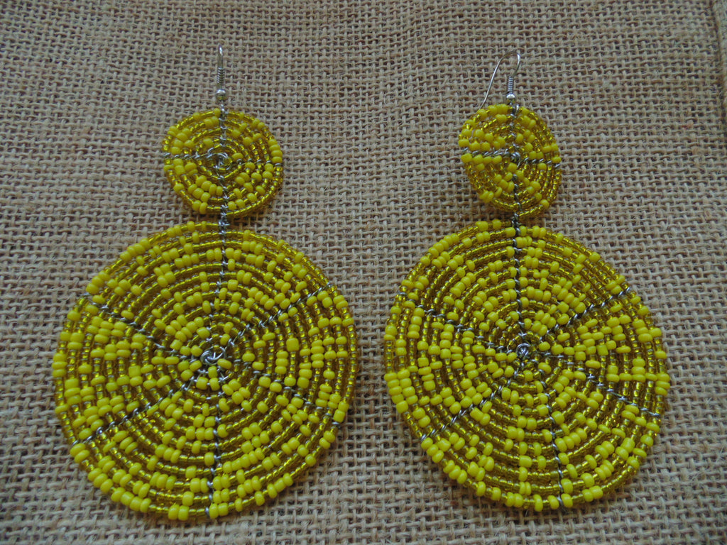 Beaded Earrings-Yellow Variation
