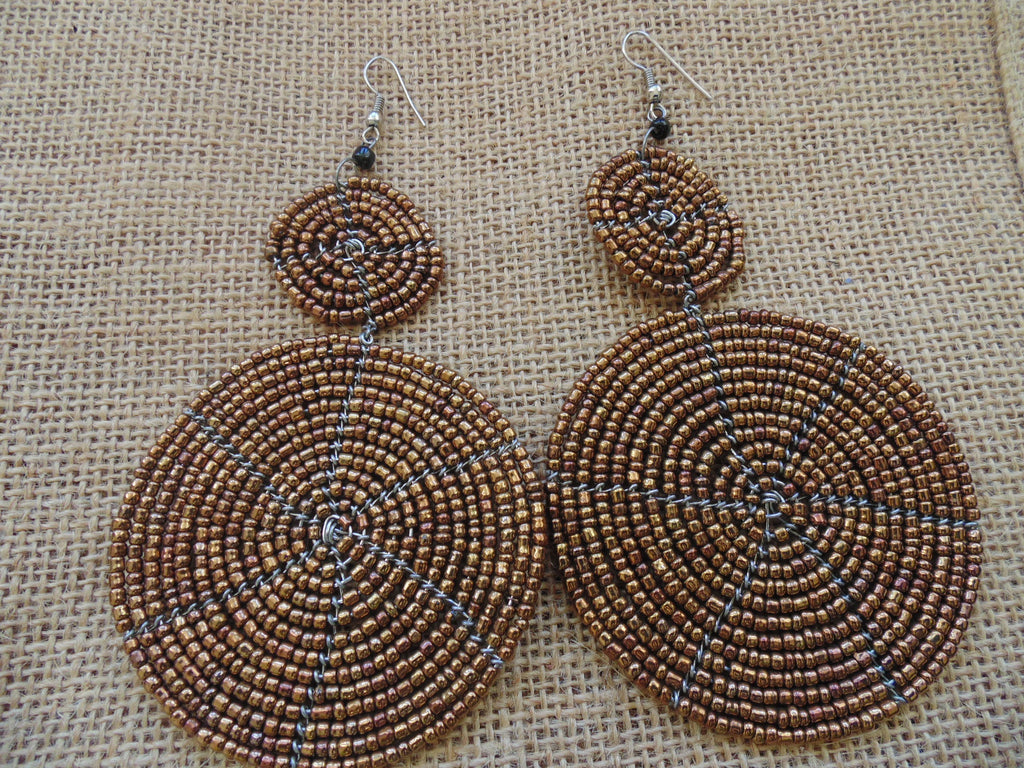 Beaded Earrings-Metallic Brown Variation
