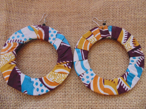 African Print Earrings-Brown Variation