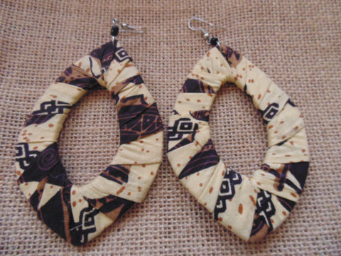 African Print Earrings-Beige Variation 2