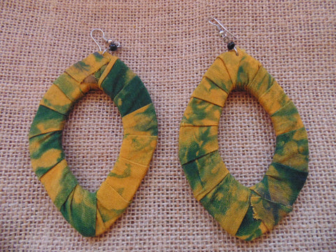 African Print Earrings-Green Variation 3