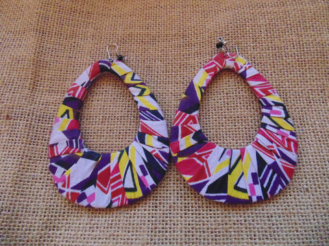 African Print Earrings-Purple Variation 3