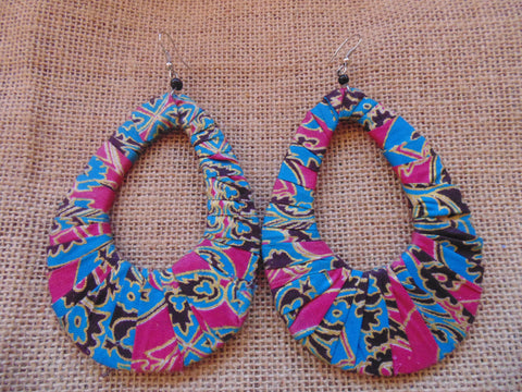 African Print Earrings-Blue and Pink Variation