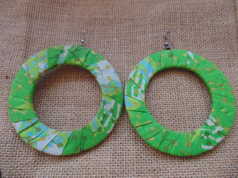 African Print Earrings-Green Variation 2