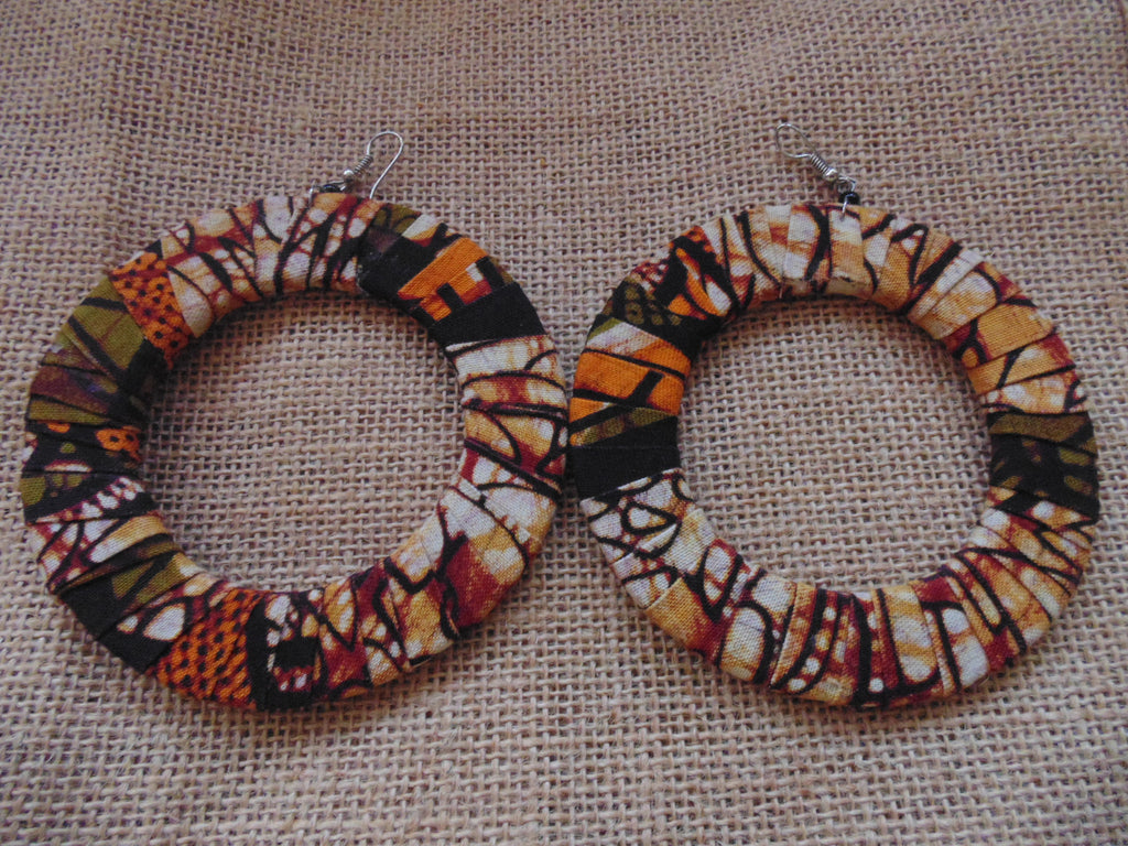 African Print Earrings-Brown Variation 2