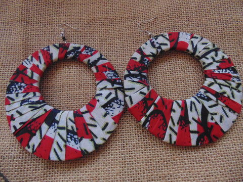 African Print Earrings-Red Variation 2