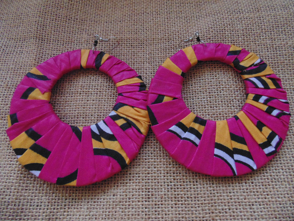 African Print Earrings-Pink Variation 2