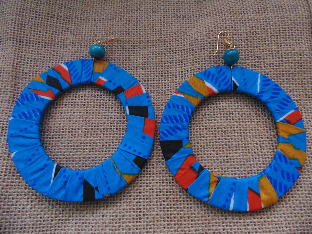 African Print Earrings-Blue Variation