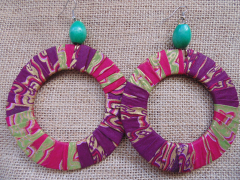 African Print Earrings-Purple Variation
