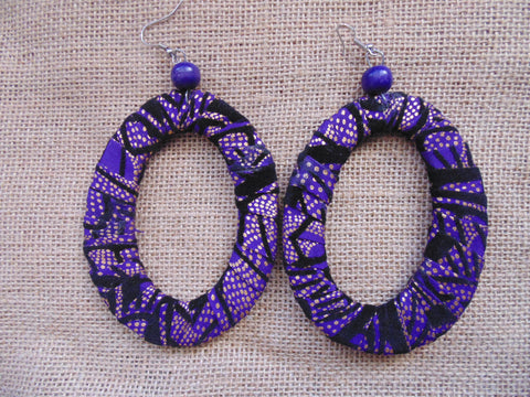 African Print Earrings-Purple Variation 4