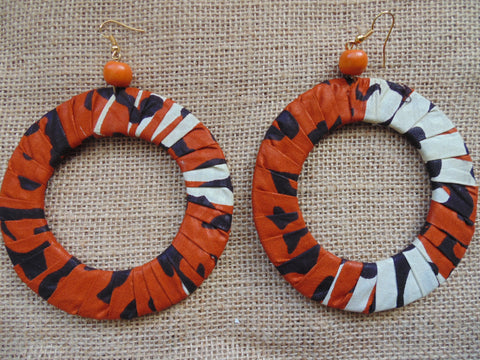 African Print Earrings-Orange Variation 3