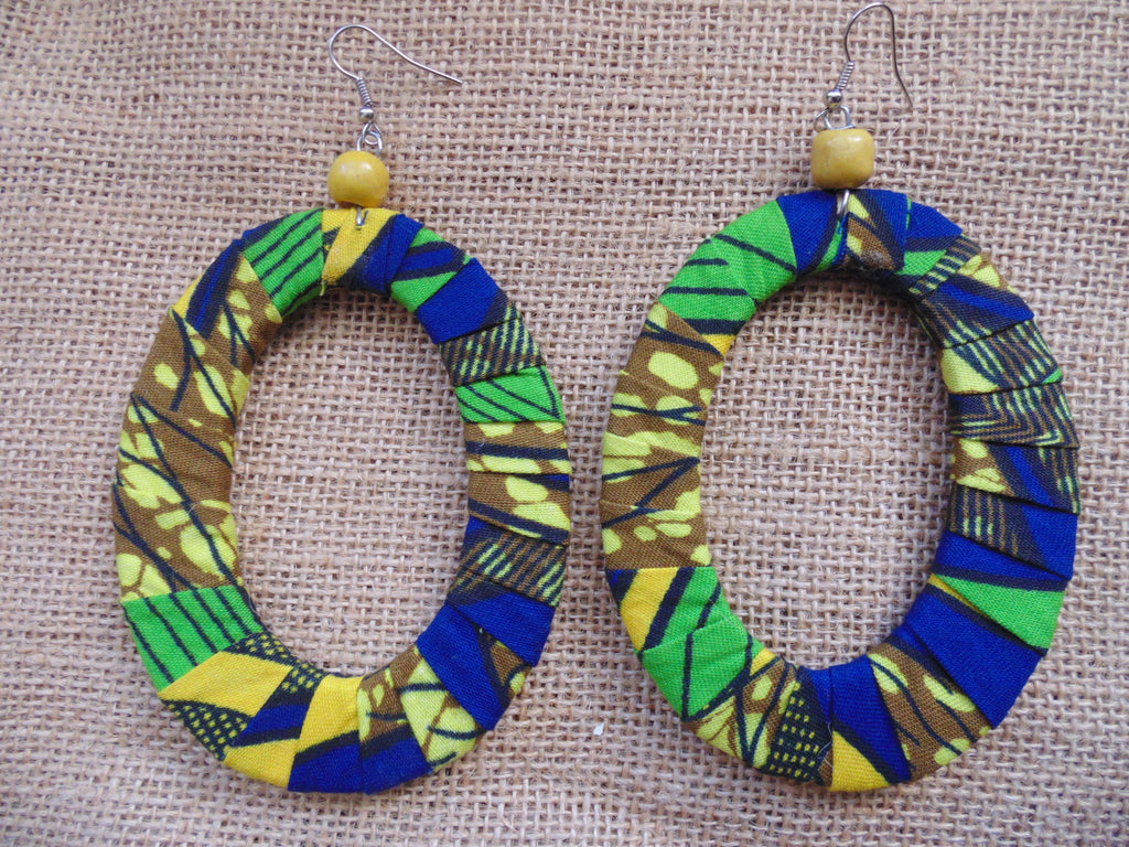African Print Earrings-Blue Variation 6