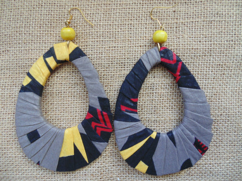 African Print Earrings-Grey Variation