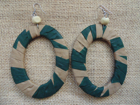 African Print Earrings-Green Variation 5