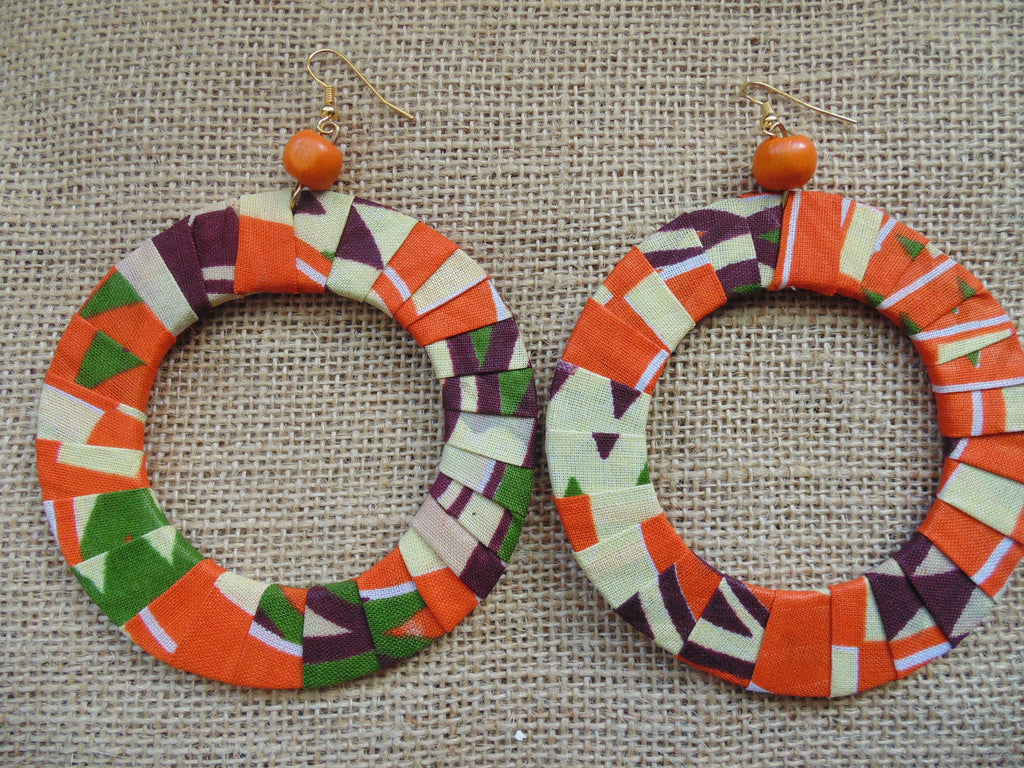 African Print Earrings-Orange Variation 2