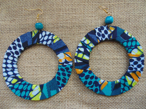 African Print Earrings-Blue Variation 2