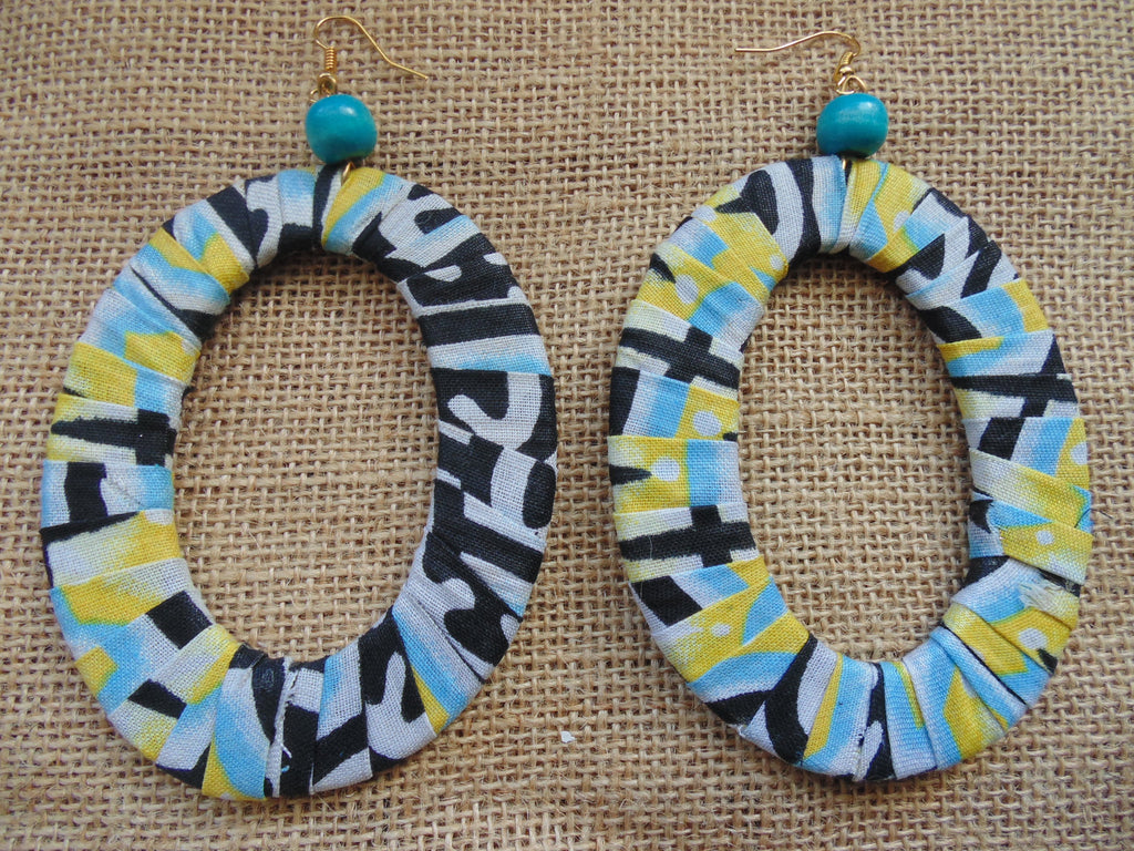 African Print Earrings-Blue Variation 7