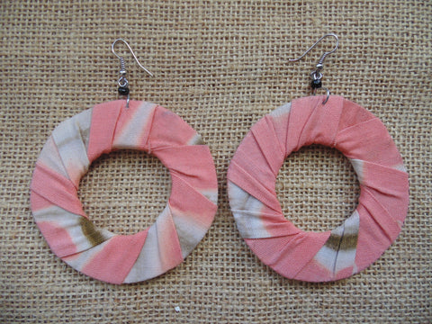 African Print Earrings-Pink Variation