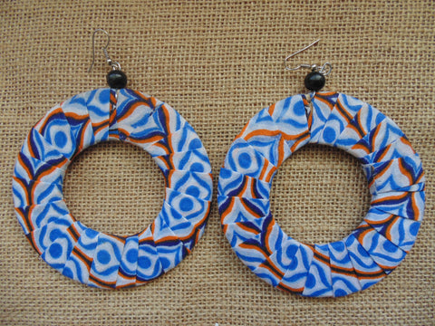 African Print Earrings-Blue Variation 3