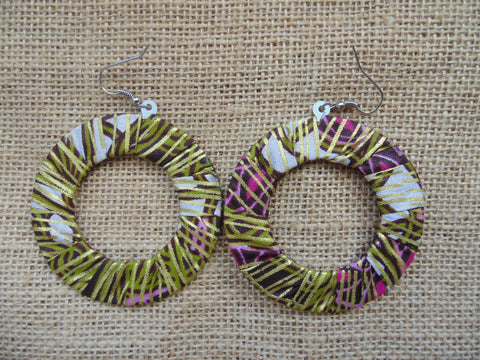 African Print Earrings-Green Variation 4