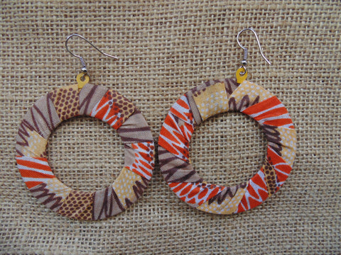 African Print Earrings-Orange Variation 4