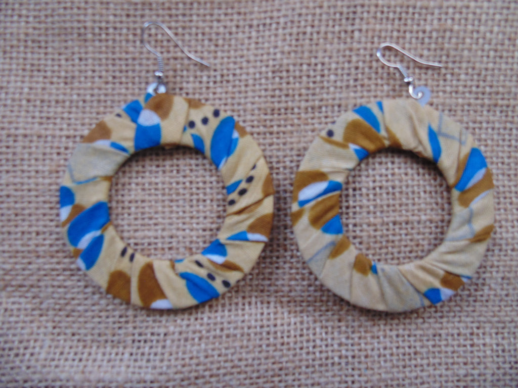 African Print Earrings-Beige Variation 3