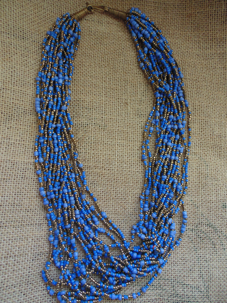 Bead Necklace-Blue Variation