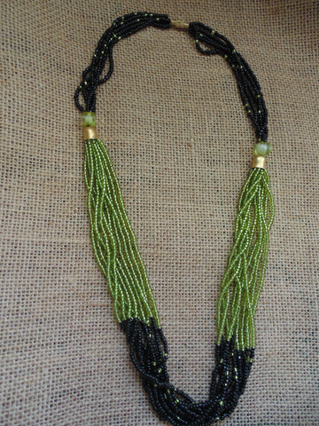 Bead Necklace-Black and Green Variation