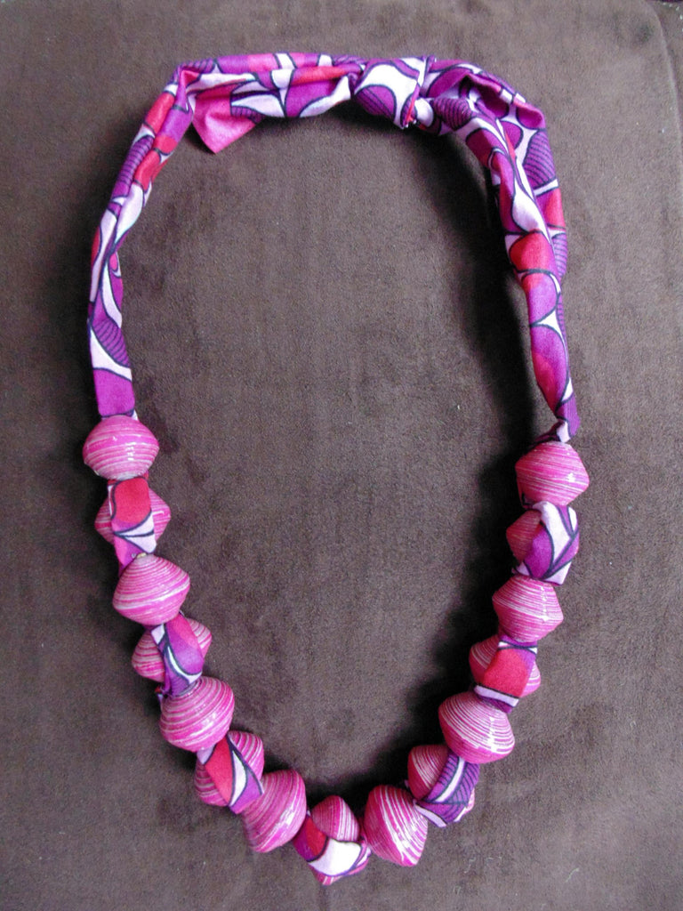Paper Necklace with Fabric-Pink
