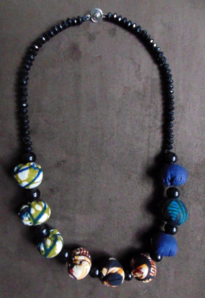 Fabric Necklace with beads- Blue Variation 2