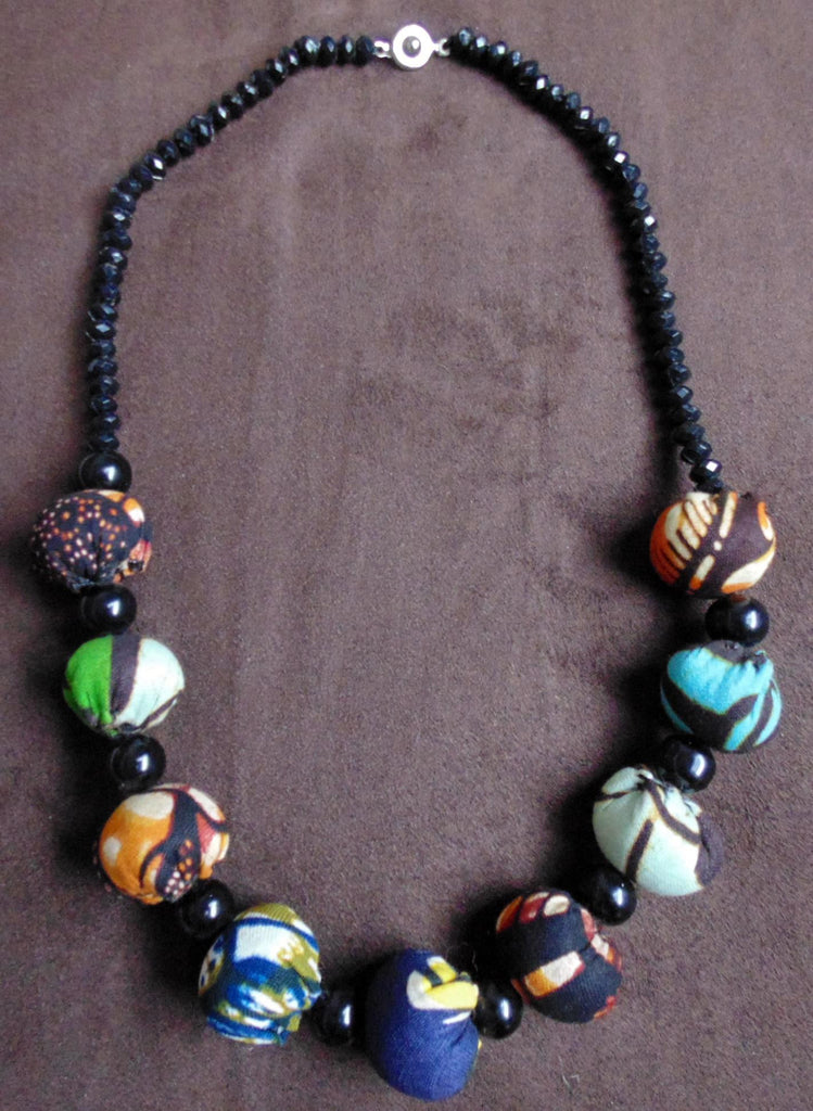 Fabric Necklace with beads- Blue Variation 3