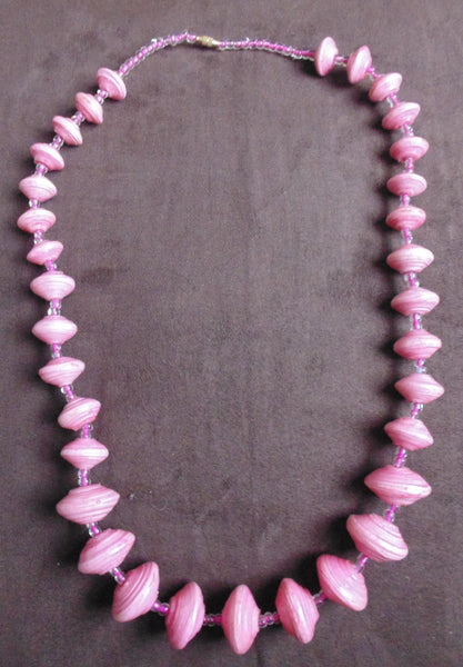 Paper Necklace with Beads-Pink - Lillon Boutique