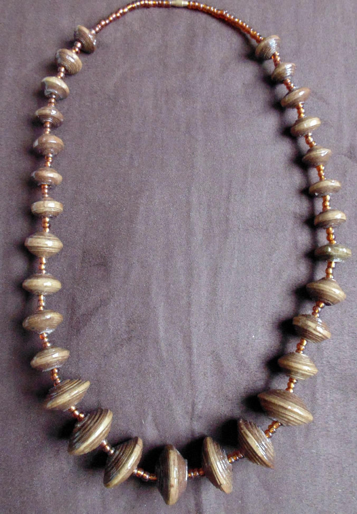 Paper Necklace with Beads-Brown