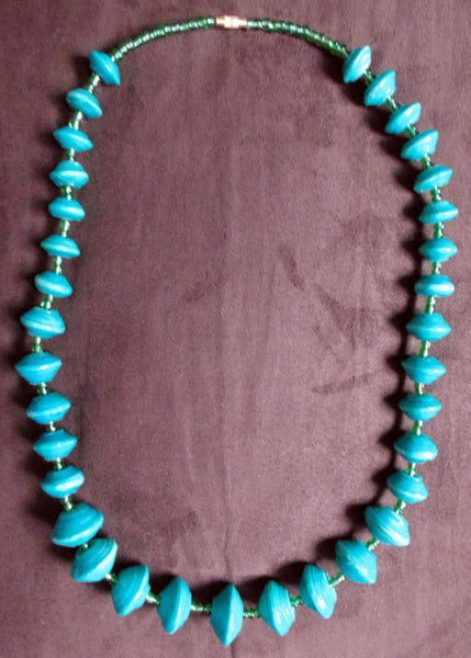 Paper Necklace with Beads-Blue 2 - Lillon Boutique