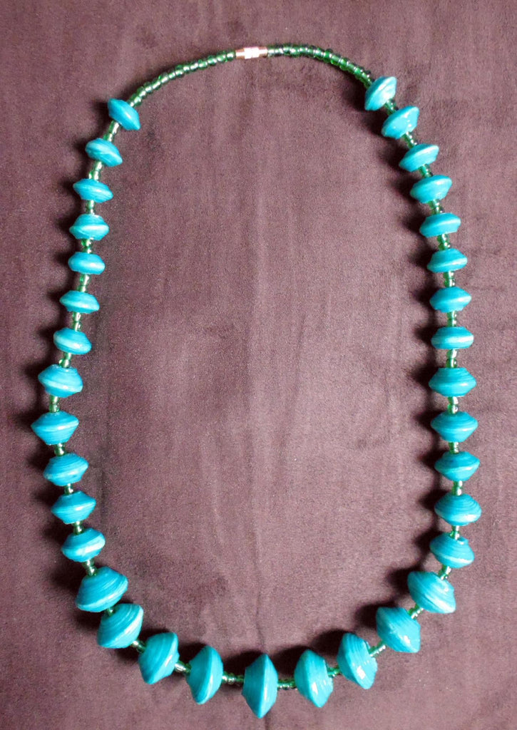 Paper Necklace with Beads-Blue