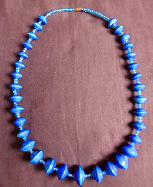 Paper Necklace with Beads-Blue - Lillon Boutique