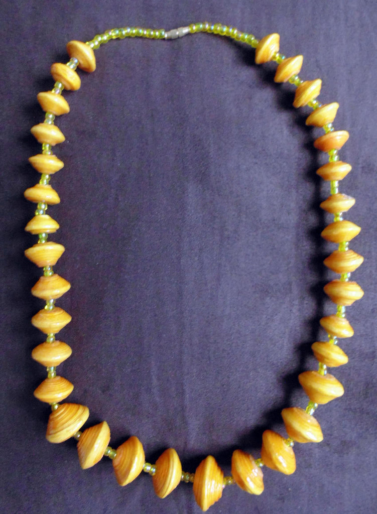 Paper Necklace with Beads-Yellow