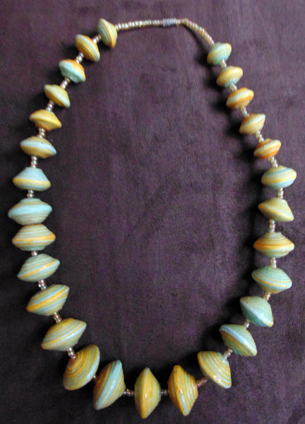 Paper Necklace with Beads-Yellow and Green - Lillon Boutique