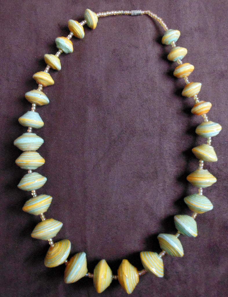Paper Necklace with Beads-Yellow and Green