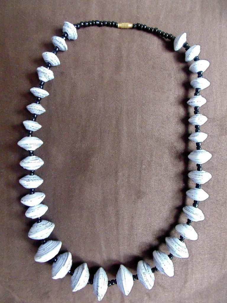 Paper Necklace with Beads-Black and White