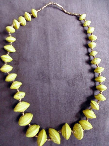 Paper Necklace with Beads-Yellow 2 - Lillon Boutique