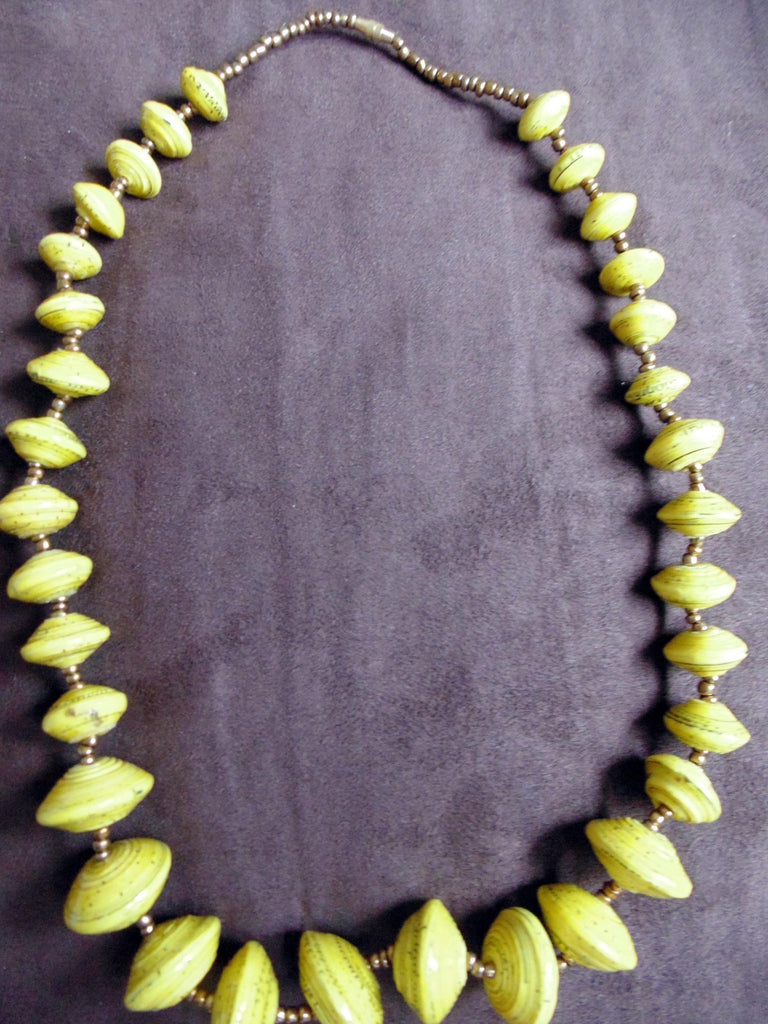 Paper Necklace with Beads-Yellow 2