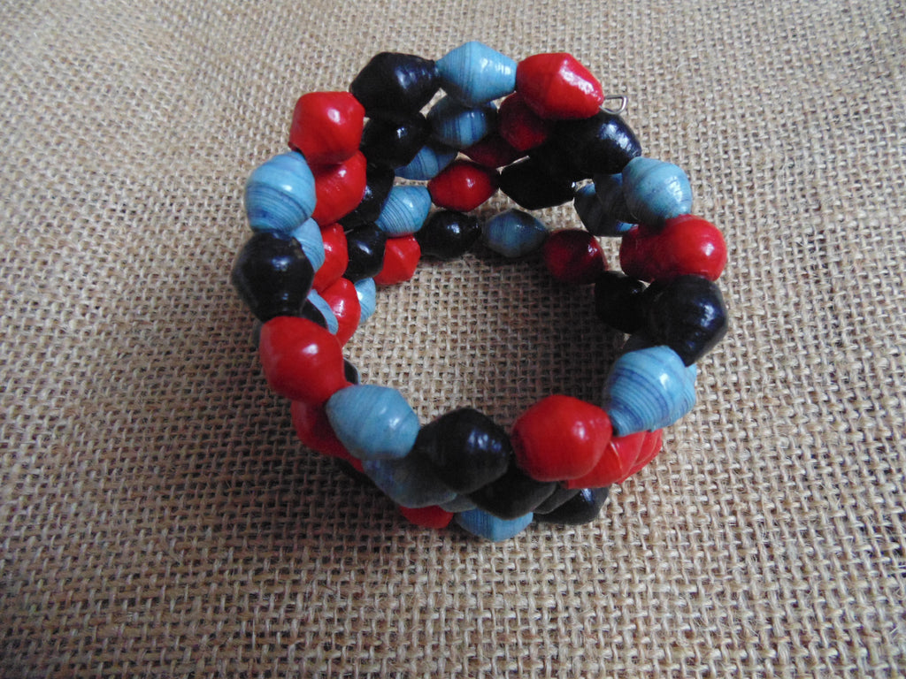 Paper Coil Bracelet-Blue Red Black